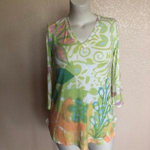 Soft Surroundings V-Neck Print Tunic Tee Top S